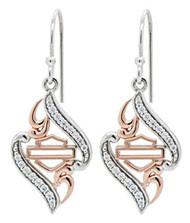 Harley-Davidson® Women's Rose Gold Plated & Silver Bling Dangle Earrings, HDE0433