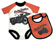 Harley-Davidson® Baby Boys' Print Interlock Newborn Creeper & Bib Set 3051761