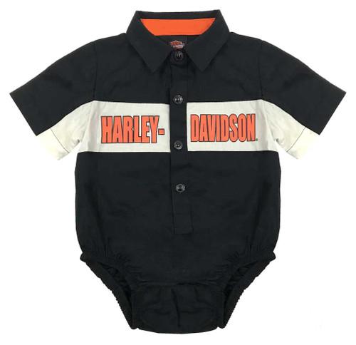 Harley-Davidson® Baby Boys' Poplin B&S Woven Infant Creeper, Black 3061749