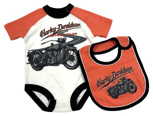 Harley-Davidson® Baby Boys' Print Interlock Infant Creeper & Bib Set 3061761