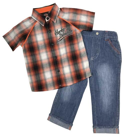 Harley-Davidson® Baby Boys' Plaid Shirt & Denim Pant Infant 2-Piece Set 2061757