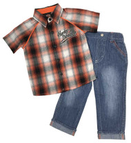 Harley-Davidson® Baby Boys' Plaid Shirt & Denim Pant Infant 2-Piece Set 2061757