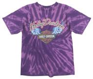 Harley-Davidson® Little Girls' Glitter Wings Swirl Tie-Dye Tee, Purple 1530731