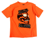 Harley-Davidson® Little Boys' Skull & Shades T-Shirt, Safety Orange 1580661
