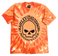 Harley-Davidson® Little Boys' Skull Logo Swirl Tie-Die T-Shirt, Orange 1580749