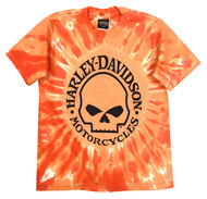 Harley-Davidson® Little Boys' Skull Logo Swirl Tie-Die T-Shirt, Orange 1570749