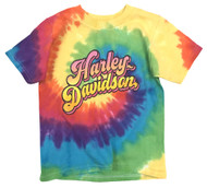 Harley-Davidson® Big Girls' Sugar Glitter H-D Swirl Tie-Dye Rainbow Tee 1540753