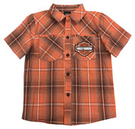 Harley-Davidson® Little Boys' Plaid Short Sleeve Shop Shirt, Orange 1072723