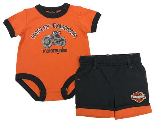 Harley-Davidson® Baby Boys' Short Set w/ Infant Creeper, Orange & Black 2062707