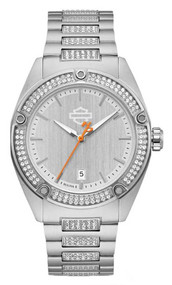 Harley-Davidson® Women's Crystal Embellished B&S Stainless Steel Watch 76L187