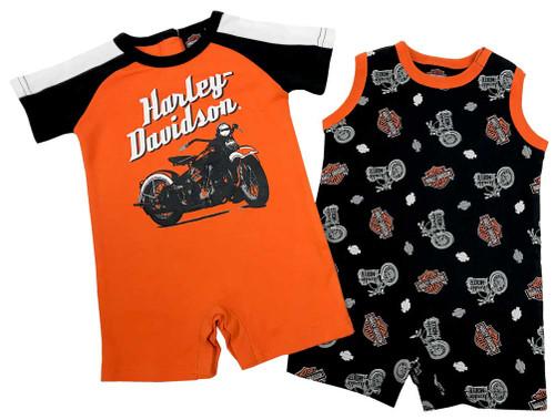 Harley-Davidson® Baby Boys' Biker 2-Pack Newborn Romper Set, Black/Orange 3052703