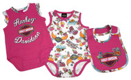 Harley-Davidson® Baby Girls' Glitter 2 Piece Newborn Creeper Set w/ Bib 3002717