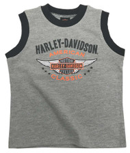 Harley-Davidson® Little Boys' Winged Bar & Shield Jersey Muscle Tee, Gray 1072731