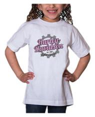 Harley-Davidson® Little Girls' Glitter Geared Up Short Sleeve Toddler Tee, White