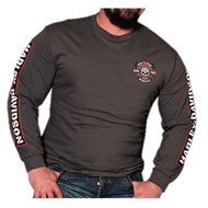 Harley-Davidson® Men's Brawler Willie G Skull Long Sleeve T-Shirt, Charcoal Gray