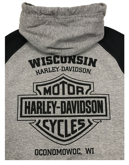 Harley-Davidson® Men's Premium Midnight Rider Colorblocked Pullover Hoodie, Gray