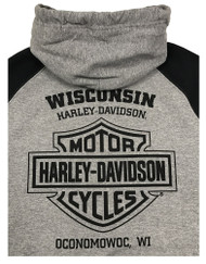 Harley-Davidson® Men's Premium Midnight Rider Colorblocked Pullover Hoodie, Gray