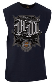 Harley-Davidson® Men's Triumph H-D Graphic Sleeveless Muscle Tee, Navy Blue