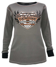 Harley-Davidson® Women's Revival Racing Long Sleeve Thermal Shirt, Steel Gray