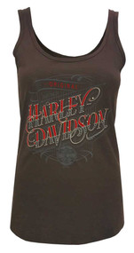 Harley-Davidson® Women's Gunslinger Embellished Sleeveless Tank Top, Cocoa