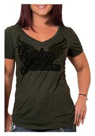 Harley-Davidson® Women's Bagger Winged H-D Short Sleeve V-Neck Tee, Olive Green