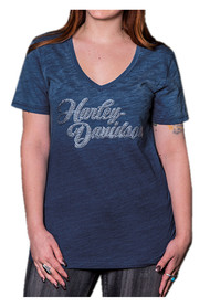 Harley-Davidson® Women's Decked Out Embellished H-D V-Neck Tee, Denim Ombre