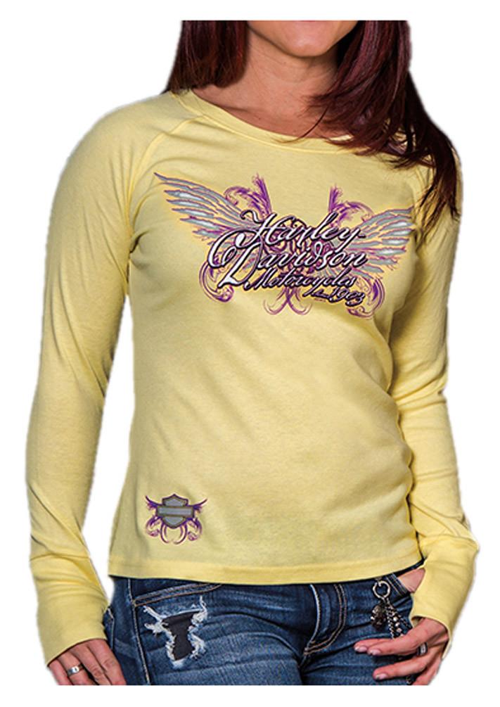 Harley davidson women 39 s tenacious long sleeve raglan for Womens yellow long sleeve shirt