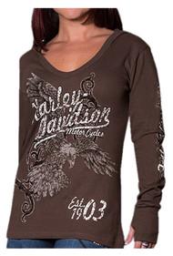 Harley-Davidson® Women's Distressed Flier Eagle Thermal Hoodie, Espresso Brown