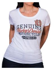 Harley-Davidson® Women's Coliseum Studded Short Sleeve Round-Neck Tee, White