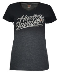 Harley-Davidson® Women's Embellished Midnight Script V-Neck Tee, Gray Ombre Fade