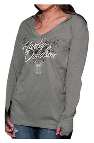 Harley-Davidson® Women's Skull Vines V-Neck Long Sleeve Hoodie Shirt, Gray
