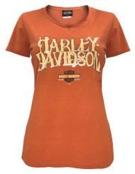 Harley-Davidson® Women's Hustle Notched V-Neck Short Sleeve Tee, Orange