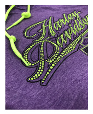 Harley-Davidson® Women's Power Ride Long Sleeve Hoodie, Purple & Neon Yellow
