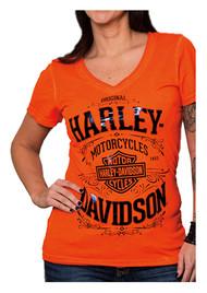 Harley-Davidson® Women's H-D Vintage V-Neck Short Sleeve Tee, Vermilion Orange