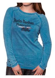 Harley-Davidson® Women's Highway Star Foil Long Sleeve Raglan Burnout Shirt, Blue