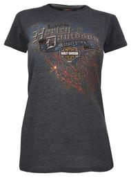Harley-Davidson® Women's Embellished Blast Off Slim Short Sleeve Tee, Charcoal