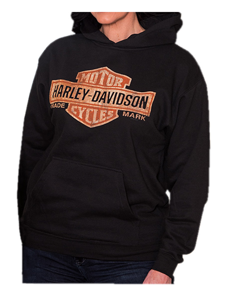 harley davidson women 39 s distressed bar shield pullover. Black Bedroom Furniture Sets. Home Design Ideas