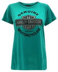 Harley-Davidson® Women's Glamour Glitter Bar & Shield Short Sleeve Tee, Peacock