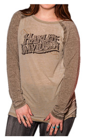 Harley-Davidson® Women's Playbill Long Sleeve Raglan Burnout Shirt, Brown