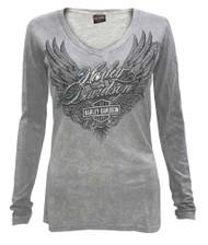 Harley-Davidson® Women's Arise Embellished Deep V-Neck Long Sleeve Shirt, Gray