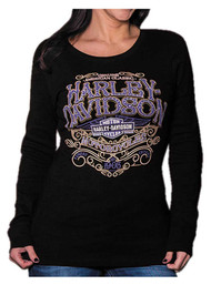 Harley-Davidson® Women's Warrant Studded Long Sleeve Ribbed Shirt, Black