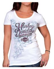 Harley-Davidson® Women's Speedway H-D Embellished Short Sleeve Tee, White