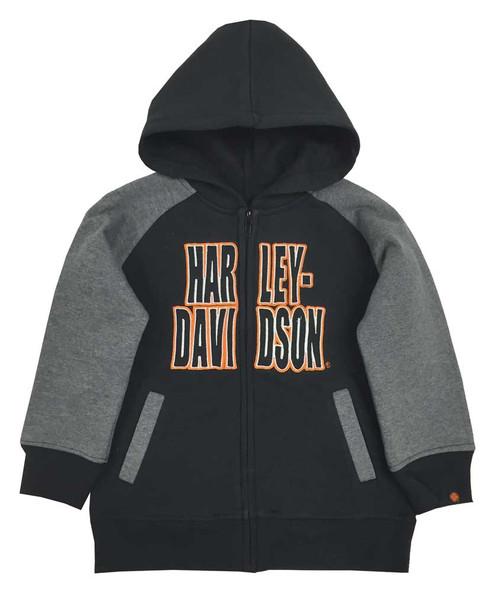 Harley-Davidson® Big Boys' Embroidered Fleece Zip Hoodie, Black/Gray 6590563