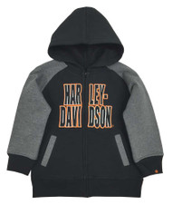 Harley-Davidson® Big Boys' Embroidered Fleece Zip Hoodie, Black/Gray 6590563