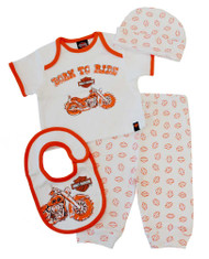 Harley-Davidson® Baby Boys' 4 Piece Boxed Gift Set, Top, Pant, Hat, Bib 0352472 - A