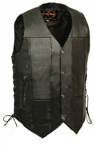 Leather King Men's 10 Pocket Side Lace Vest SH1391 - A