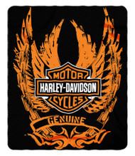 Harley-Davidson® Skid Out Fleece Throw Blanket, Winged Bar & Shield Logo NW047075