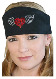 That's A Wrap Women's Embellished Winged Heart Do Band, Solid Black DB3321