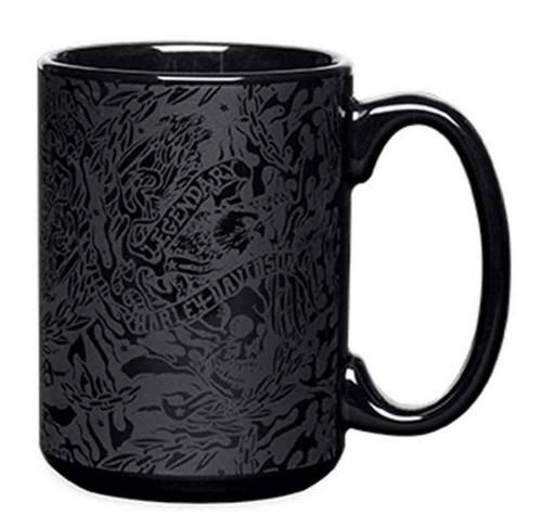 Harley-Davidson® Allover Legendary Eagle Ceramic Coffee Mug, Black. 96815-16V