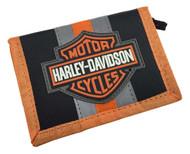 Harley-Davidson® Boys' Reflective Bar & Shield Tri-Fold Velcro Wallet 7180539 - C